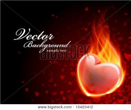 Burn heart flame fire Valentine's day vector background