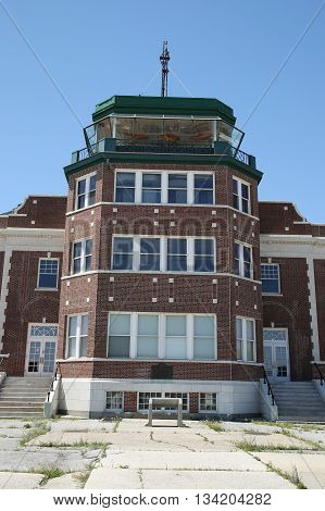 BROOKLYN, NEW YORK - JUNE 12, 2016: Historic Floyd Bennett Field Administration Building served as passenger terminal, air traffic control and baggage depot in Brooklyn, New York