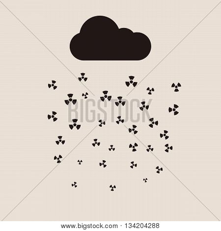 Acid rain and radioactive cloud vector flat concept. Vector illustration of acid rain and effect of toxic air pollution on the environment,