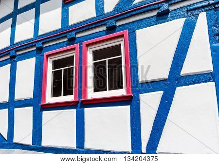 German Blue and White half timbered house