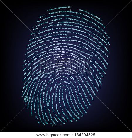 Fingerprint made with binary code concept .