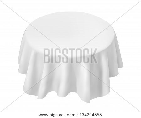 Vector Empty Round Table with Tablecloth Isolated on White Background vector illustration.