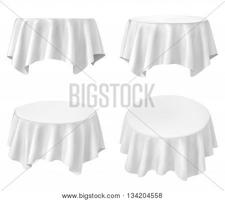 White round tablecloth set isolated on white