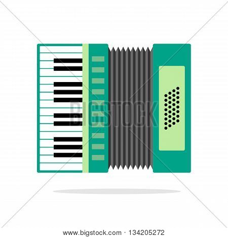 Real Accordion flat icon isolated on background. Vector illustration of musical instrument.