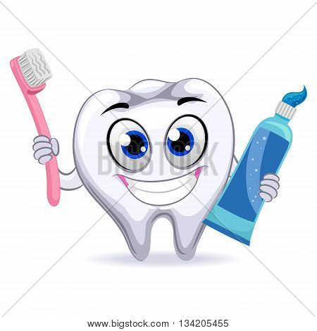 Vector Illustration of Tooth Holding Toothbrush and Toot paste
