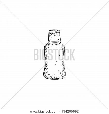 Hand drawn bottle. Container for mixture or product for body care and hygiene. Detailed sketch of container isolated on white background. Black and white pencil or ink drawing