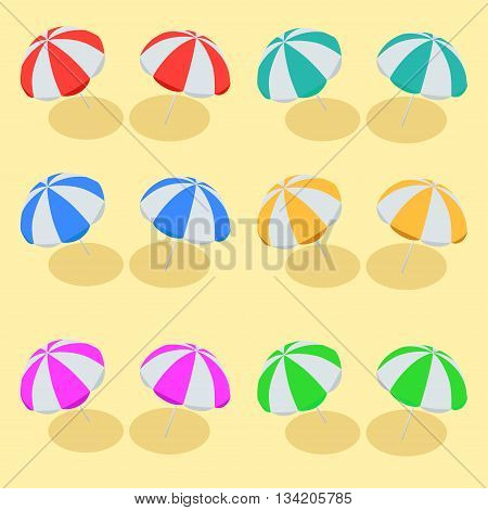 Beach Umbrella set. Beach set symbols of sun umbrellas. Summer sunny parasol. Flat 3d vector isometric illustration