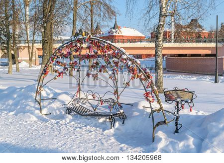 Orel, Russia - January 24, 2016: Decorated from padlocks