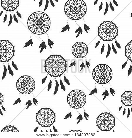 Seamless pattern with freehand dreamcatchers. Ethnic vector illustration on white background. Black and white wallpaper. Dreamcatchers with feathers