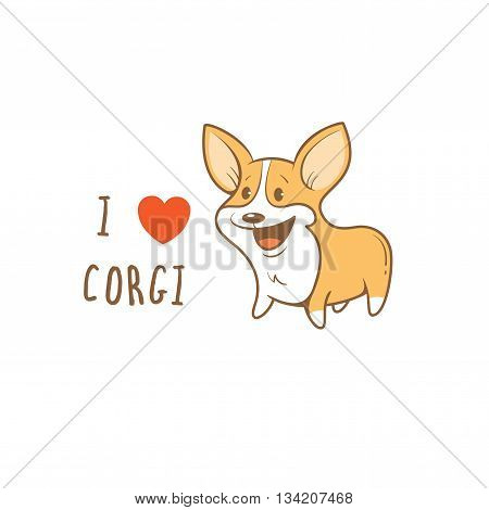 Card with cute cartoon dog breed Welsh Corgi Pembroke. Children's illustration. Little puppy. Funny baby animal. Vector image.