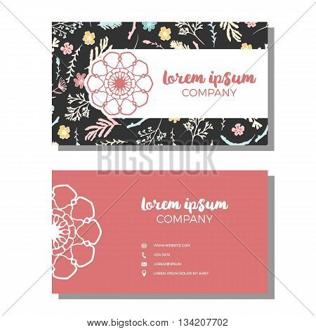 Business cards with floral pattern. Vector illustration. Wildflowers, moss and berries on dark background. Business cards with freehand floral logo