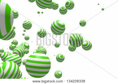 Large group of orbs or spheres levitation in empty space. lollipop stripes texture. 3D rendering