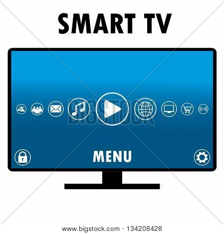 Smart TV with different icons flat design vector illustration.