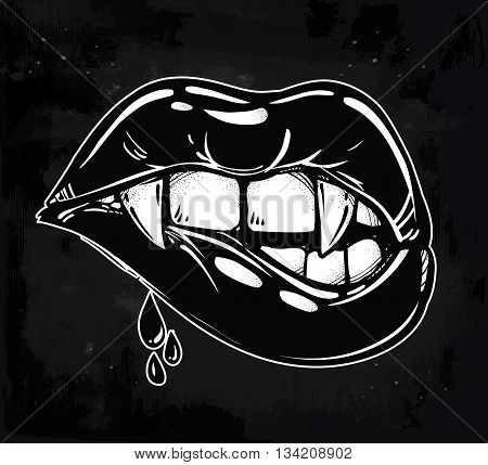 Sexy vampire biting lips. Pop art print in flash tattoo style. Isolated vector illustration. 1990's inspired art.