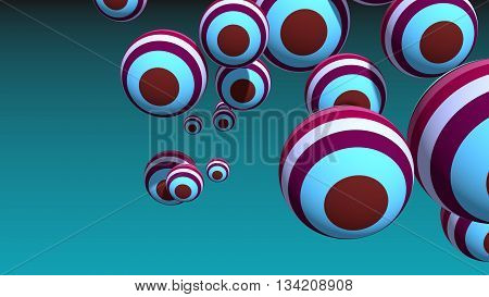 Large group of orbs or spheres levitation in empty space. 3D rendering. Geometry shapes painting by stripes