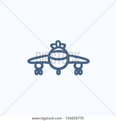 Airplane vector sketch icon isolated on background. Hand drawn Airplane icon. Airplane sketch icon for infographic, website or app.
