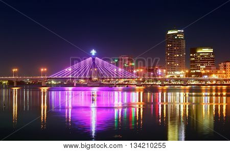 DA NANG, VIETNAM, April 27, 2016 not set a name cable-stayed bridge, spanning the Han River. Da Nang city, at night. The bridge can swing axle, helping ships passing