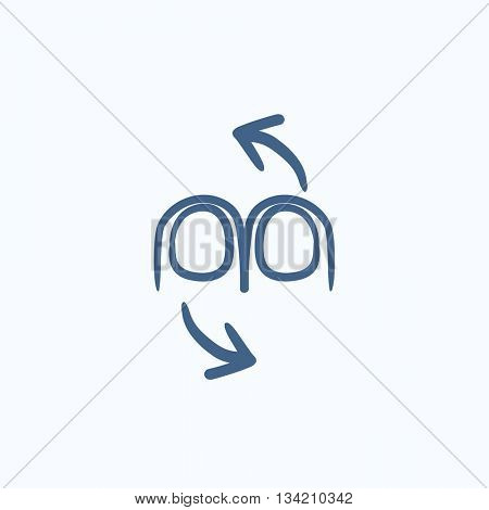 Rotate touch screen gesture vector sketch icon isolated on background. Hand drawn Rotate touch screen gesture icon. Rotate touch screen gesture sketch icon for infographic, website or app.