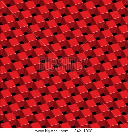 Checkered three dimension red on black background vector illustration.