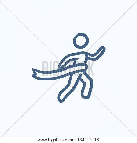 Winner crossing finish vector sketch icon isolated on background. Hand drawn Winner crossing finish icon. Winner crossing finish sketch icon for infographic, website or app.