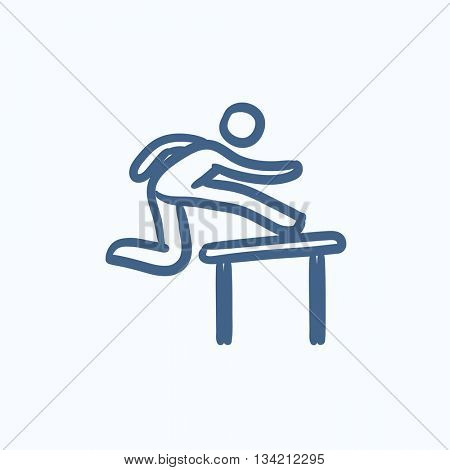 Man running over barrier vector sketch icon isolated on background. Hand drawn Man running over barrier icon. Man running over barrier sketch icon for infographic, website or app.