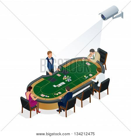 CCTV security camera on isometric illustration of people playing poker at the casino. 3d isometric vector illustration