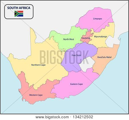 Illustration of a Political Map of South Africa with Names