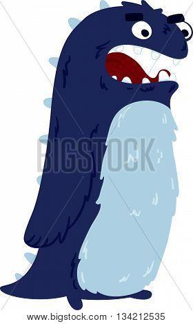 Vector illustration of cute little monster nice character