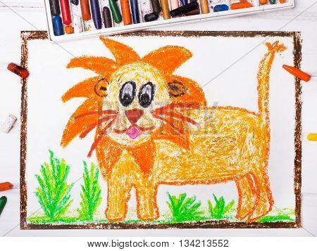 photo of a colorful drawing: lion with a big mane