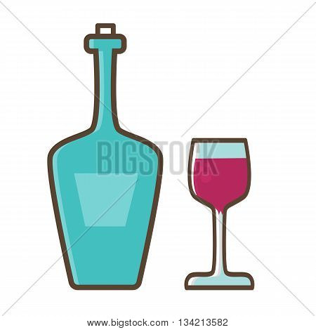 Bottle of wine with a glass stopper in trendy linear style.