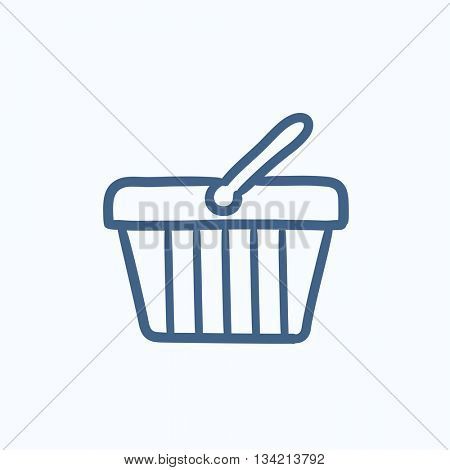 Shopping basket vector sketch icon isolated on background. Hand drawn Shopping basket icon. Shopping basket sketch icon for infographic, website or app.