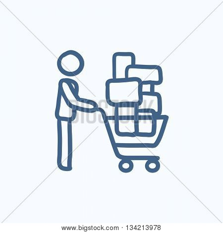 Man pushing shopping cart vector sketch icon isolated on background. Hand drawn Man pushing shopping cart icon. Man pushing shopping cart sketch icon for infographic, website or app.