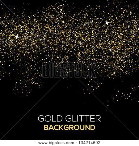Gold confetti glitter on black background. Abstract gold dust glitter background. Vector