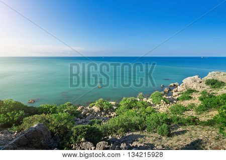 city Sudak Crimea travel bright summer photo