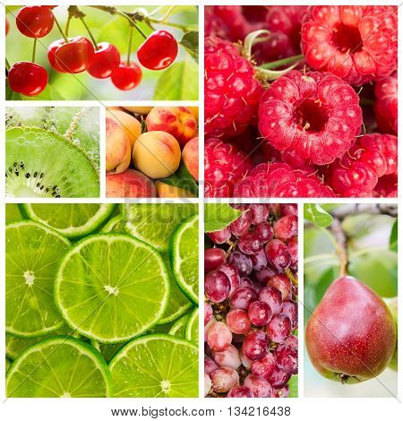 Collage Of Fruit And Berries