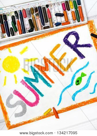 Photo of a colorful drawing: word SUMMER