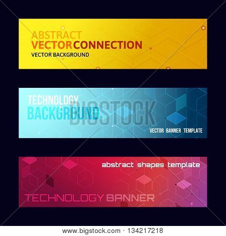 Three abstract banners collection. Modern vector digital background. Abstract geometric design. Flayer brochure poster template with text. Color glowing lines.