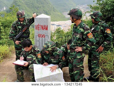 LANG SON, Vietnam, February 15, 2016 Border combatant groups, Lang Son, Vietnam highland, checking border posts on land, adjacent to China National