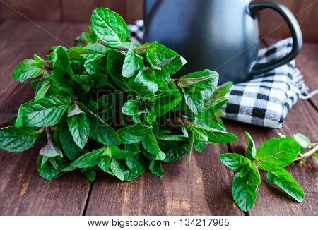 Fresh mint leaves on a wooden background. Mint tea