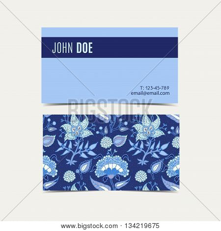 Business cards With vintage floral background. For advertising business websites print