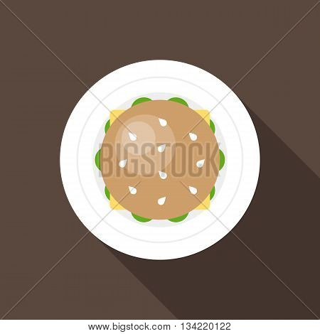 Hamburger in birds-eye view icon, flat design