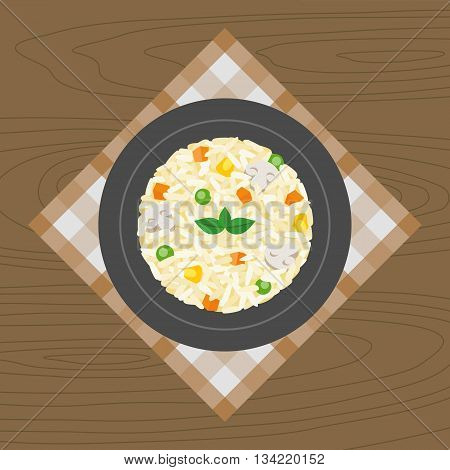 Vegetable and mushroom Risotto on wood background, flat design