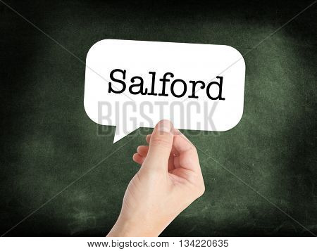 Salford written in a speech bubble