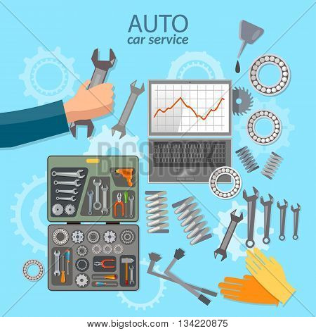 Car service mechanic tool box professional auto repair auto service center vector illustration