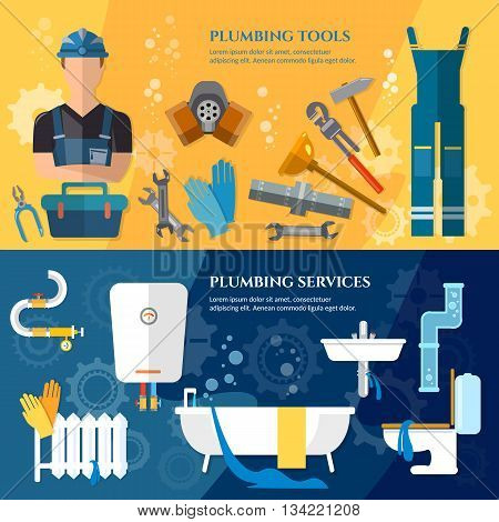 Plumbing service banner professional plumber water pipe repair of plumbing and heating systems vector illustration
