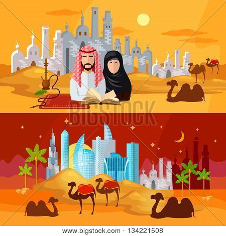 Muslims banners tradition and culture of the Arab countries vector illustration