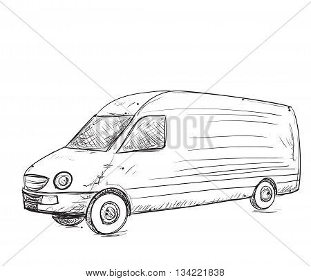 Hand drawn commercial car. Delevery servise poster