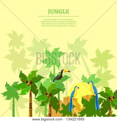 Jungle background beautiful jungle birds parrot toucan tropical forest vector illustration