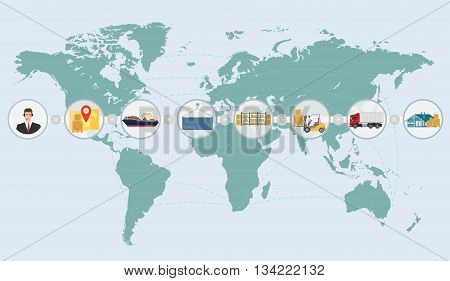 World map concept of cargo logistics delivery shipping service infographics