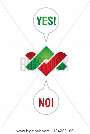Communication concept with Yes and No arrows